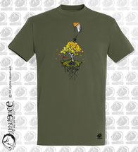 t-shirt homme parapente dans l'arbre kaki