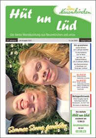 """Die Ansicht der Titelseite der Zeitung """"Hüt un Lüd"""", gesetzt bei Astrid Röben Printmedien in Neuenkirchen."""