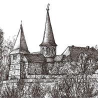 Tusche-Zeichnung der Michaelskirche Fulda