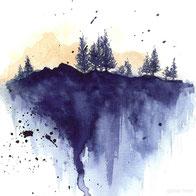Aquarell Bild blauer Wald
