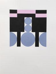 Ellen Roß: squares & circles n°8, ...till dawn,  2018, 31 x 41 cm, Vinyl auf Bütten