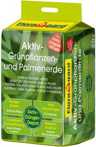 Substrat für Zimmerpflanzen - Floragard Aktiv Grünpflanzen- und Palmenerde ist eine gebrauchsfertige Spezial-Erde zum Topfen und Umtopfen von Palmen und anderen langlebigen Grünpflanzen.