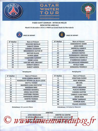 Feuille de match  PSG-Inter Milan  2014-15