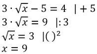 Beispiel für das Lösen von Wurzelgleichungen