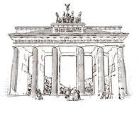 Zeichnung des Brandenburger Tores in Berlin. Stadtführungen Kulturgut