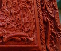 Miroir ancien rouge