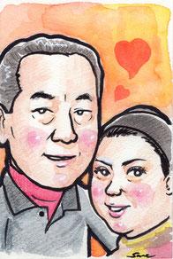 手描きのカラー似顔絵 夫婦