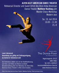 Alvin Ailey Master Class Workshop mit Matthew Rushing