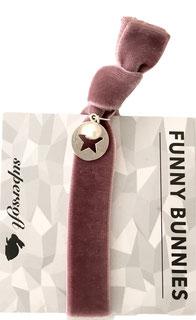 1 elastisches Samt Armband mit Anhänger Velvet Pearl mauve