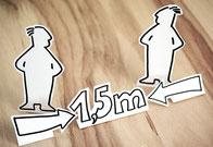 Abstand von 1 bis 2 Metern