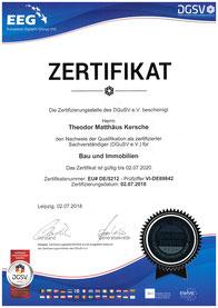 Zertifikat: Zertifizierter Sachverständiger für Bau und Immobilien  des DGuSV