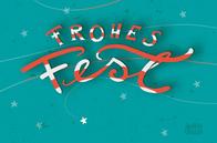 Frohes Fest - mit Sternchen - rot weiß - Illustration und Lettering Judith Ganter bei Redbubble