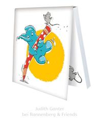 KLEBEZETTEL MIT ELEFANT & MAUS - Stift, Springen, Spielen - Illustration Judith Ganter - Verlag Rannenberg & Friends - Geschenke kaufen, Mitbringsel Kollegen