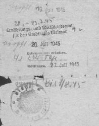 Lebensmittelbescheinigung Stadtkreis Weimar