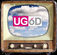 Ein alter Fernseher zeigt das UGÖD-Logo.