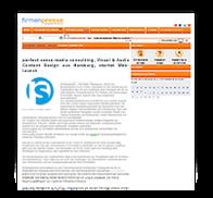 "Grafik: Webscreenshot ""Firmenpresse""   perfect sense media consulting, Hamburg"