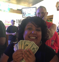 Be like Wendy & win some cash in our non-profit raffles!  We draw at 6:30 on Friday nights.  The River Falls Community Food Pantry is currently running the raffles.