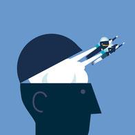 Zeichnung eines geöffneten Kopfes, aus welchem Personen als Synonym für wissenschaftliche Ideen herausfliegen