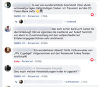 Rückmeldungen, die sich über das Facebook-Profil des Veranstalters einfanden