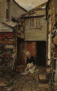 Otto Scholderer  'Fish-cleaning Maid, St Ives'