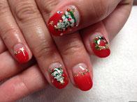 とっても可愛いクリスマスツリーのジェルアートはリースのアートと合わせれば完璧☆
