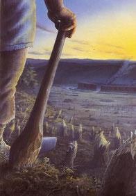 La hache polie, un outil moderne pour défricher les forêts et sédentariser les tribus. Dessin Gilles TOSELLO