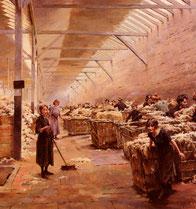 """Une idée de la vie réelle au sein des filatures de la région d'après cette oeuvre de Fernand J. Gueldry """"le triage de la laine"""""""