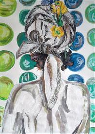 F... moi la Paix ! pastel gras et encre de chine, Claire ALLARD, scène de vie