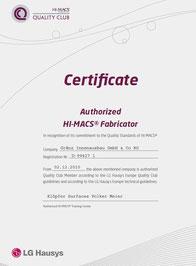 LG HI-MACS® Zertifikat für Gränz Innenausbau