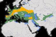 Karte zur Verbreitung der Grauammer (Emberiza calandra).