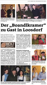 Der Boandlkramer zu Gast in Loosdorf - Bericht in Bezirksblätter Melk