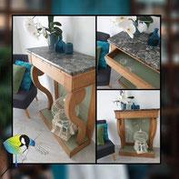 Avec presque rien , console, meuble, recyclage, rénovation de meuble, Sciez, Thonon, Haute- savoie, Leman, créa terra, détournement de fonction, fausse cheminée, tiroir secret, bois massif, vert argile, marbre gris, peint à la main