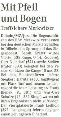 Merkwitzer Bogensportler bei der Gesamtdeutschen Meisterschaft in Döbeln