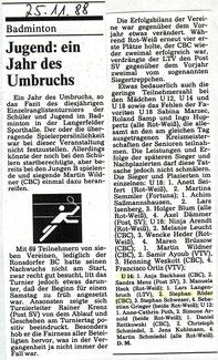 WZ vom 25.11.1988 Wuppertaler Rangliste Jugend