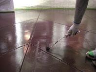 美容室 店舗床塗装 上塗り