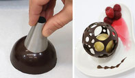 Chocolate Ball,chocolate sphere,chocolate decorating,chocolate dessert,chocolate pastry,chocolate technique,