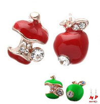 Boucles d'oreilles pommes et strass