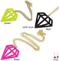 Colliers à pendentifs en forme de diamants rose, noir ou jaune avec chaine à maillons dorés