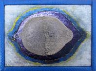 LEMON C / Icône - Acrylique et collage sur toile  14 x 18 cm.