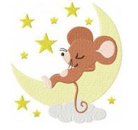 Schlafende Maus im Mond
