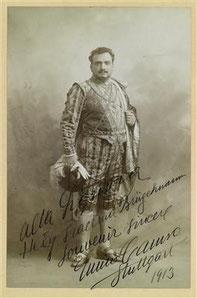 Autogrammkarte mit Widmung für Hedy Brügelmann von Enrico Caruso (1913)