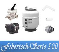Bausatz Filteranlage Fibertech Serie D500 Fiberplast mit Filterpumpe Sta-Rite