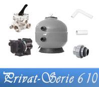 Bausatz Filteranlage Privat Serie D610 Fiberplast mit Filterpumpe Sta-Rite