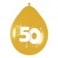 """Ballonnen """"goud"""" 50 6 stuks € 2,25"""