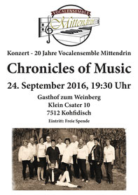 Vocalesemble Mittendrin, Chronicles of Music, Jubiläumskonzert, Burgenland, Kohfidisch, 24.September 2016, 25.09.2016, Chor
