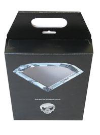 Hängefaltschachteln mit Klarsichtfenster Verkaufsverpackung Präsentationsbox Präsentationsverpackung GD2 auf offene Welle kaschiert doppelter Deckel mit Einsteck- und Konterlasche (Riegelverschluss)