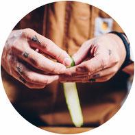 Finger rollen Gemüse