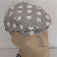 casquette béret toile enduite grise pois blancs