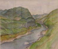 亀の瀬渓谷  水彩10号