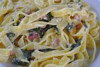 Pasta Carbonara mit Mangold